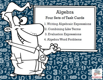 Algebra-Middle School Review of Four Skills-80 Task Cards