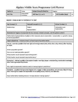 Algebra IB Middle Years Programme MYP Unit Planner - Exponential Functions
