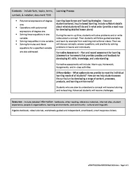 Algebra IB Middle Years Programme MYP Unit Planner - Expressions and Equations