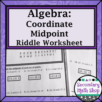 Midpoint Formula Practice Riddle Worksheet