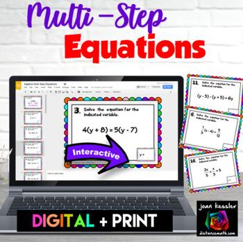 Algebra Multi Step Equations Digital Task Cards with GOOGLE Slides