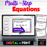 Algebra Multi Step Equations Digital Task Cards with GOOGL