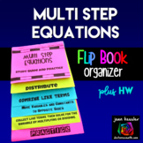 Algebra Multi-Step Equations Flip Book plus HW