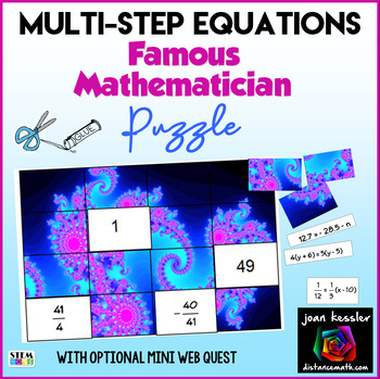 Algebra Multi Step Equations Famous Mathematician Puzzle with Fractals
