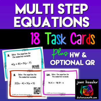 Algebra Multi Step Equations Task Cards plus Homework