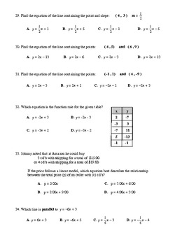 Algebra Multiple Choice Test - Unit 5: Linear Equations and Their Graphs