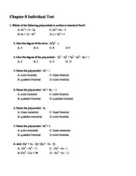 Algebra Multiple Choice Test: Unit 8 Multiplying and Factoring Polynomials