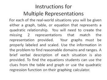 Algebra  Multiple Representations of Quadratic Functions