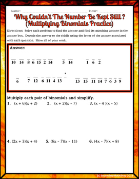 Multiplying Binomials Practice Riddle Worksheet by Secondary Math Shop