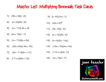 Algebra Multiplying Binomials Task Cards FREEBIE