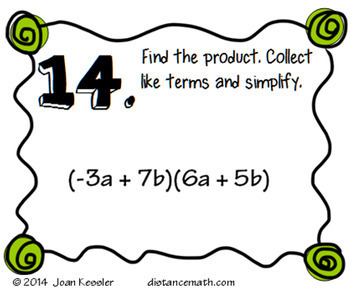 Algebra Multiplying Binomials Task Cards FREEBIE