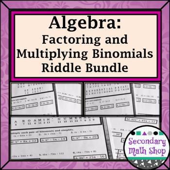 Multiplying Binomials & Factoring Practice Riddle Worksheet Mini-Bundle