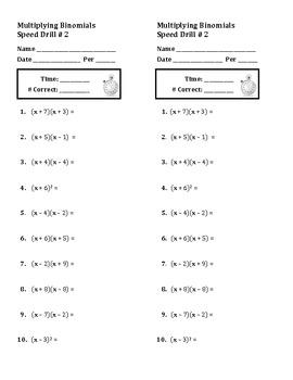 Algebra: Multiplying Binomials and Factoring Trinomials Speed Drills