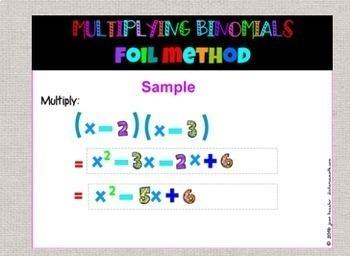 Algebra Multiplying Binomials by FOIL with GOOGLE Slides™