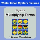 Algebra: Multiplying Terms - Math Mystery Pictures - Winter Emoji