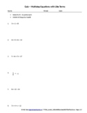 Algebra Quiz Multistep Equations With Like Terms