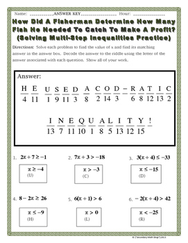 Multistep Inequalities Practice Riddle Worksheet