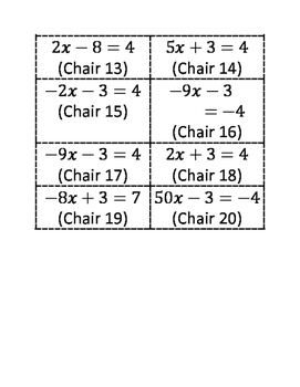 Algebra Musical Chairs