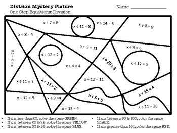 Algebra Mystery Picture: One Step Equations: Division