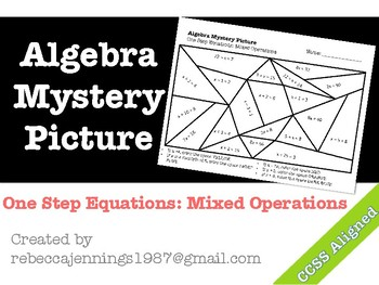 Algebra Mystery Picture: One Step Equations: Mixed Operations
