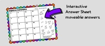 Algebra Negative Exponents  GOOGLE Slides Digital Interactive