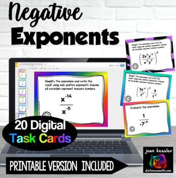 Algebra Negative Exponents  GOOGLE Slides Digital Interactive
