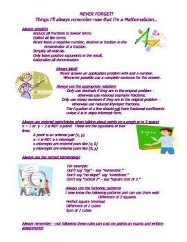 Algebra: Never Forget (Alg 1)