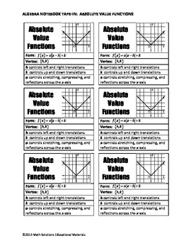Algebra Notebook Tape-In: Absolute Value Functions