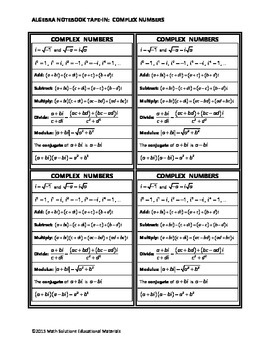 Algebra Notebook Tape-In: Complex Numbers
