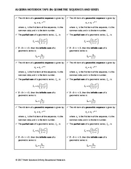 Algebra Notebook Tape-In - Geometric Sequences and Series FREE