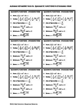 Algebra Notebook Tape-In: Quadratic Functions in Standard Form