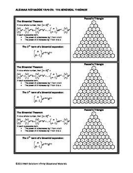 Algebra Notebook Tape-In: The Binomial Theorem