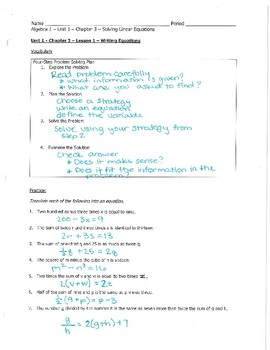 Algebra Notes - Chapter 3 - Solving Equations