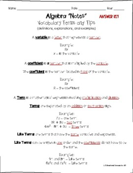 Algebra Notes Vocabulary Terms and Examples (answer key included)