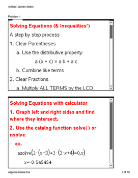 Algebra Notes and Scripts for TI nSpire Calculators
