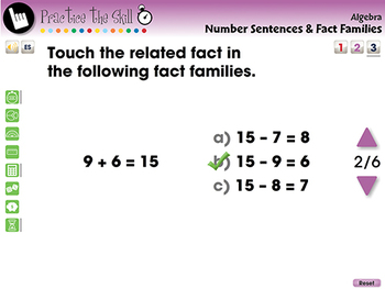Algebra: Number Sentences & Fact Families - Practice the Skill 3 - MAC Gr. PK-2