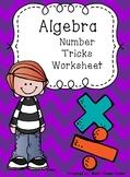 Algebra Number Tricks Worksheet Game Lesson starter