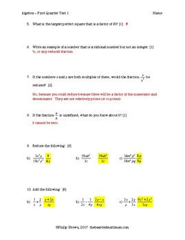 Algebra Number Unit Test and Key