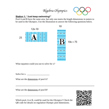 Algebra Olympics Stations Review