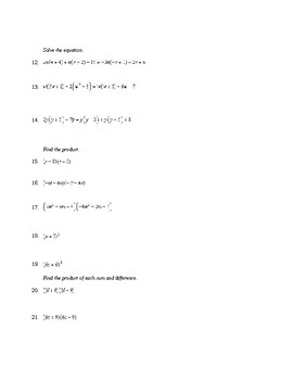 Algebra One Polynomials Review