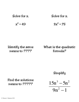 Algebra One Review Cards Pack