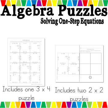 Algebra One - Solving One-Step Equations Puzzles