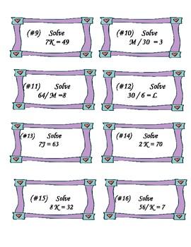 Algebra One Step Equation Game
