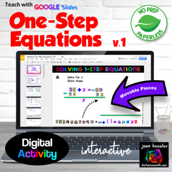 Algebra One Step Equations Interactive with GOOGLE Slides Drag & Drop