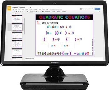 Algebra Solving Quadratic Equations by Factoring with GOOGLE Slides