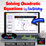 Algebra Solving Quadratic Equations by Factoring with GOOGLE Slides™