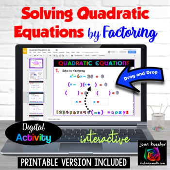 Algebra Solving Quadratic Equations by Factoring with GOOG