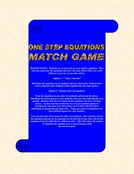 Algebra One Step Equations Match Game