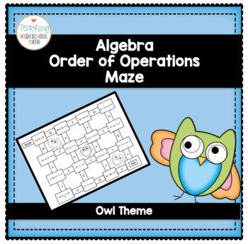 Algebra Order of Operations Maze (owl theme)