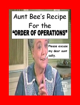 Algebra Order of Operations Poster, Aunt Bee